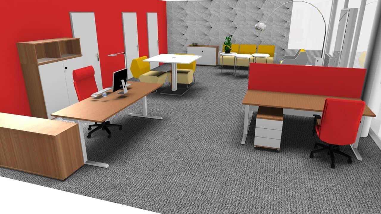 Bürokonzept für ein Großraumbüro